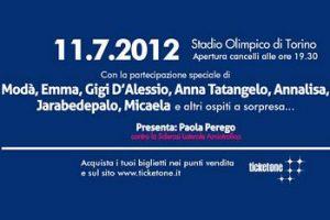 Slancio di Vita, concerto raccolta fondi contro la SLA allo stadio olimpico di Torino l'11 luglio 2012
