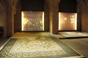 Mosaici della mostra Antichità a Torino, allestita al museo di antichità di Torino
