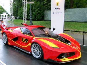 Ferrari esposta al Salone dell'Auto di Torino al Parco del Valentino