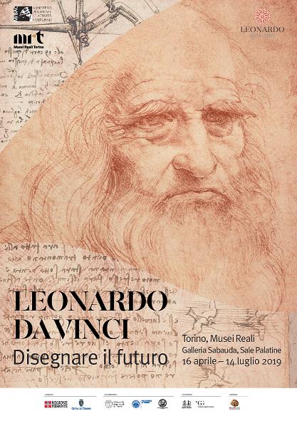 locandina della mostra a Torino su Leonardo da Vinci 2019