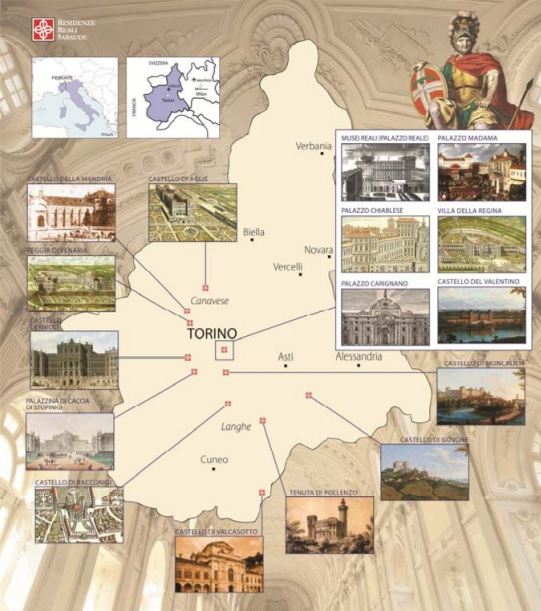Mappa delle Residenze Sabaude in Piemonte